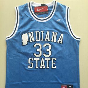 LARRY BIRD COLLEGE INDIANA STATE JERSEY WHITE BLUE